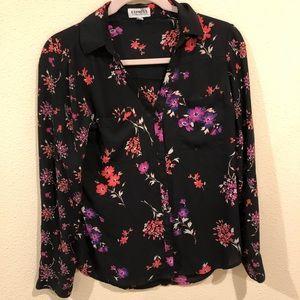 Express Portofino black floral shirt